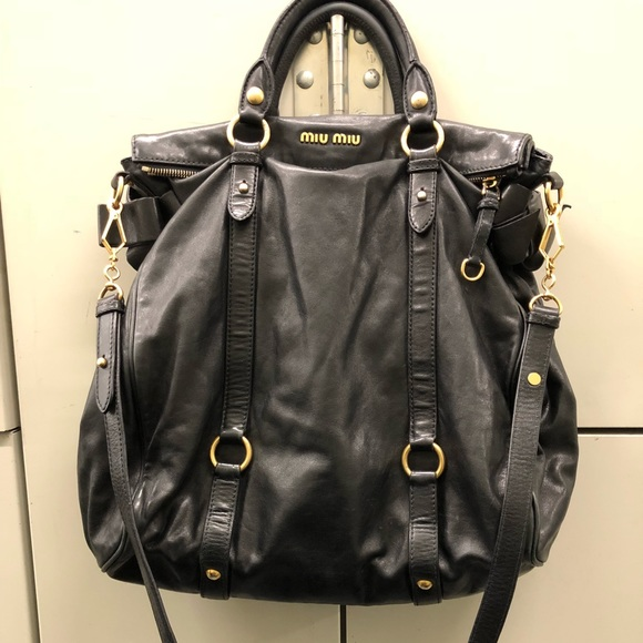 1db25ae36fb9 Authentic miu miu vitello lux large black bow bag.  M 5b34bd707386bc571c29943e